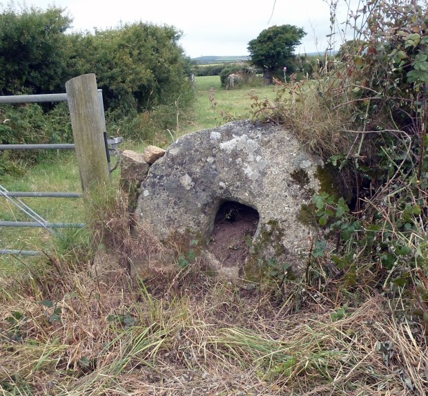 A Stone Cross Base near a gateway on the Newlyn Road